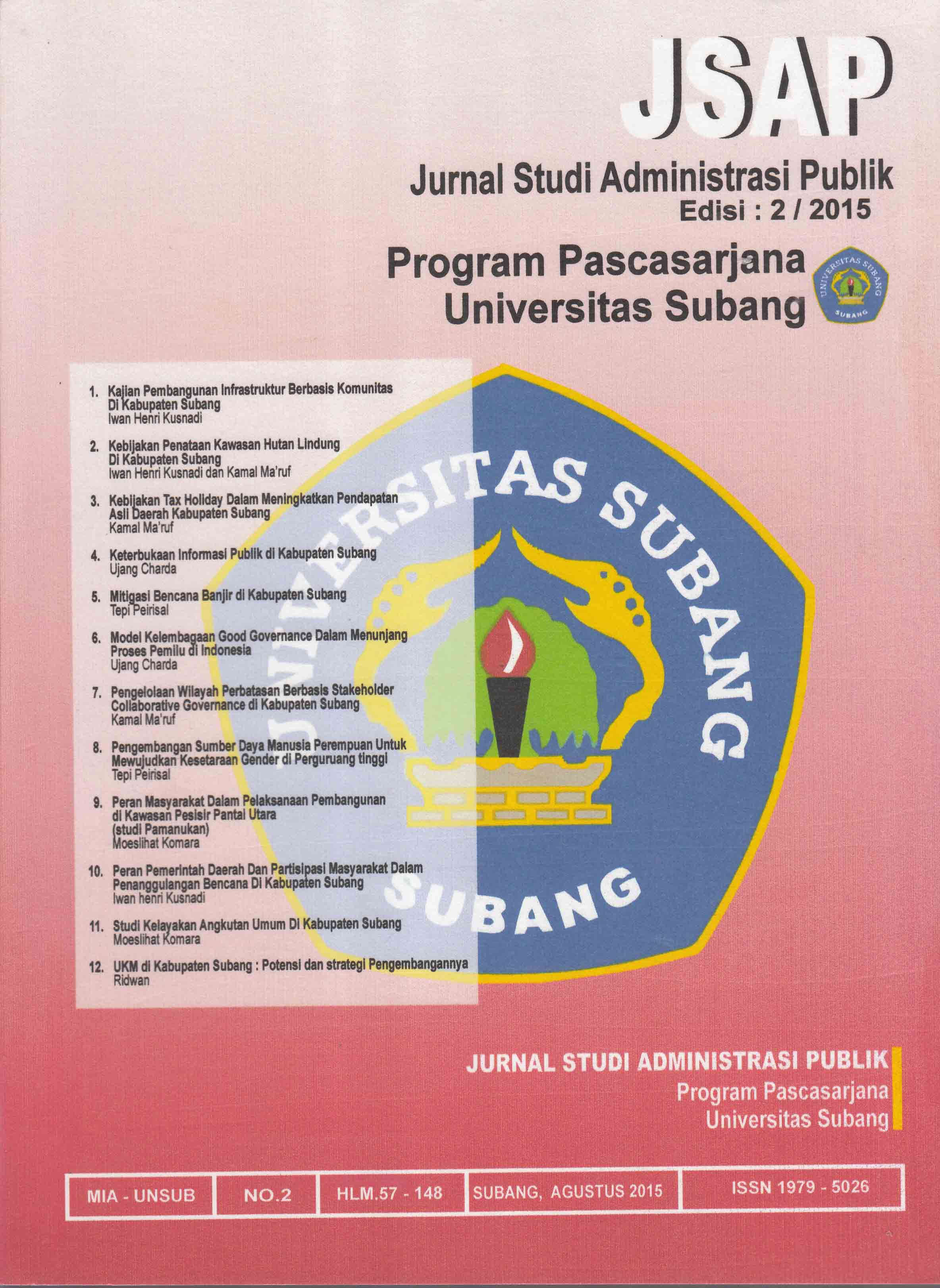 View Vol. 2 No. 2 (2015): JURNAL STUDI ADMINISTRASI PUBLIK